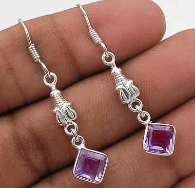 "Amethyst 925 Solid Sterling Silver Earrings Jewelry 1 2/3"" Long"