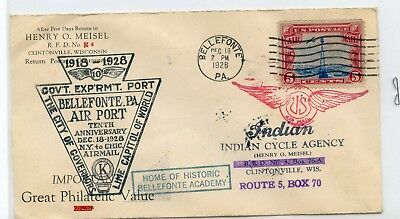 1928 U.S. AIRMAIL COVER BELLEFONTE, PA AIRPORT ~ INDIAN CYCLE AGENCY *hucky*