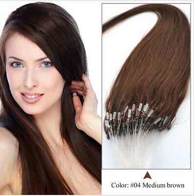 "Straight 100s 16""-26"" Easy Loop Micro Rings Beads Remy Human Hair Extensions Hot"