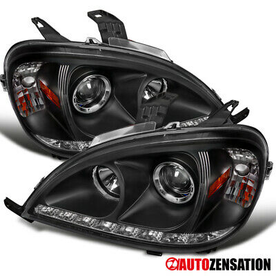 98-01 Mercedes Benz ML-Series W163 Black Projector Headlights w/ SMD LED Lights