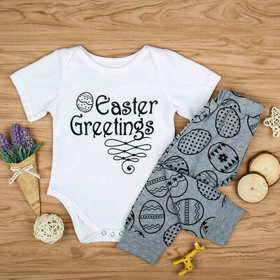 Newborn Baby Boy Girl Romper Tops+Long Pants Easter Kids 2PCS Outfit Set Clothes