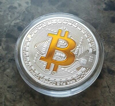 BITCOIN 1oz Silver Plated Physical Bitcoin Proof Coin - FAST SHIP! - USA ! ! !