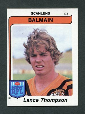 "Scanlens Gum 1980 ""rugby League - #173 Lance Thompson (Balmain)"" Rare Trade Card"