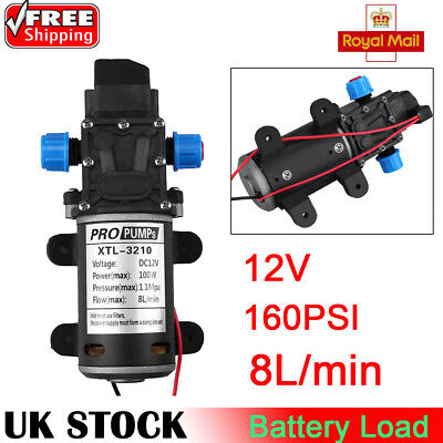 12v DC 160Psi High Pressure Diaphragm Self Priming Water Pump 5Lpm 100W UK