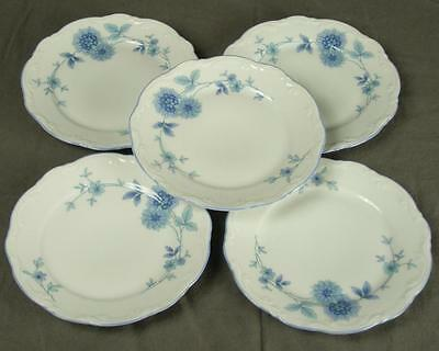 5 Mitterteich Bavaria Germany MIT161 Blue Floral China Bread & Butter Plates HH