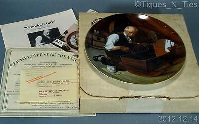 1987 Knowles Norman Rockwell Grandpa's Gift Collector Plate #1 Box & Papers (FF)