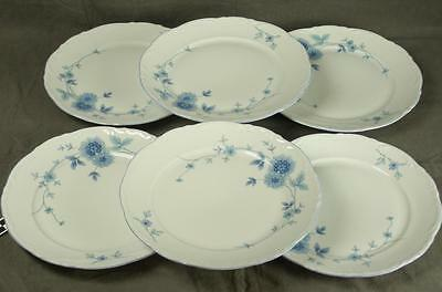 6 Mitterteich Bavaria Germany MIT161 Blue Floral Fine China Dinner Plates (HH)