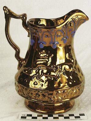 Antique Large Victorian Hand Painted Copper Lusterware Pitcher 19th Century HH