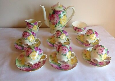 Vintage Art Deco Crown Staffordshire Porcelain Flowers 15 Piece Coffee Service