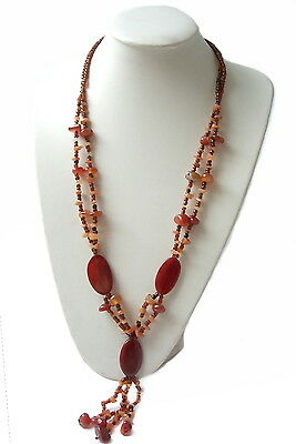 Necklace Gemstone Beads Agate Carnelian Tumbled Stone Jewelry Women's K1258