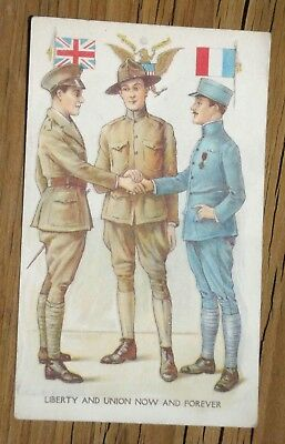 1918 antique LIBERTY AND UNION NOW AND FOREVER postcard WWI soldiers KITCHER