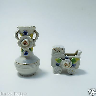 Antique Original Collectible Set of Floral themed Bud Vases - Vase & Baby Buggy