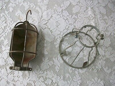 Vintage Trouble Light Heavy Duty Metal Wire Safety Cages - Lot Of 2
