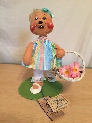 """NWT Annalee Mobilitee Doll 1996 Easter Parade Girl Bear 0940 Dolls Holiday 10"""""""