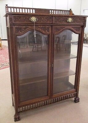 Antique Tiger Oak Double Door Display Case - Turn of Century