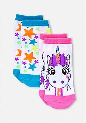 Justice Girls UNICORN 2 Pairs Socks Small Medium NWT