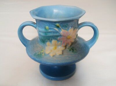 Antique ROSEVILLE DOUBLE HANDLED VASE - Blue w/ Flowers - COSMOS -Good Condition
