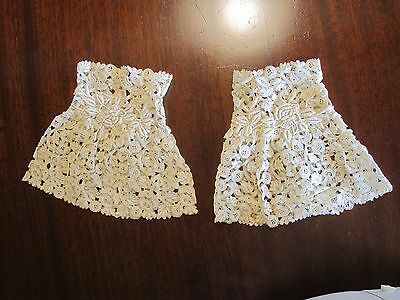 Rare Pair Antique Victorian 19Th C Ivory Lace Cuffs Honiton 1800's Bobbin Needle