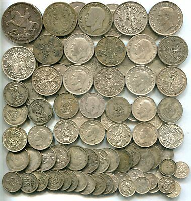 £5 pre 1947 Crown-Threepences, equivalent 9.00 tr oz pure silver - all different
