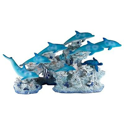 "School of Dolphins With Sea Turtle On Coral Figurine 15"" Long New In Box!"