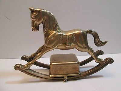 """Enesco Brass Rocking Horse Music Box 5 5/8"""" Tall """"Play Ground In My Mind"""" Song"""