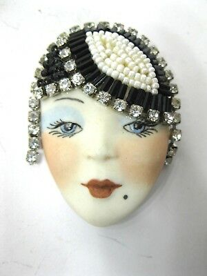 Vintage Porcelain Lady Head Face Brooch Pin Art Deco Rhinestones Signed GORGEOUS