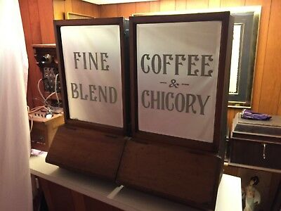 Pair Of A 1920's General Store Beveled Glass Mirrored Front Coffee Spice Display