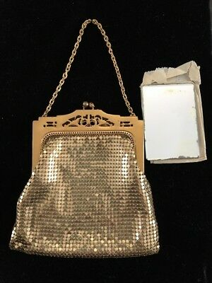 Antique Whiting & Davis Art Nouveau Deco Gold Tone Metal Mesh Purse