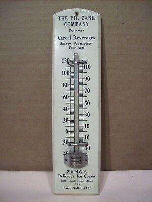 1920s~ZANG'S BREWERY~PROHIBITION~DRINKS & ICE CREAM ADVERTISING THERMOMETER SIGN