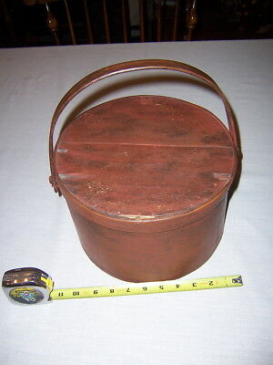 "ANTIQUE PRIMITIVE WOODEN round PANTRY BOX LID & WIDE HANDLE 10 1/2""  old red"