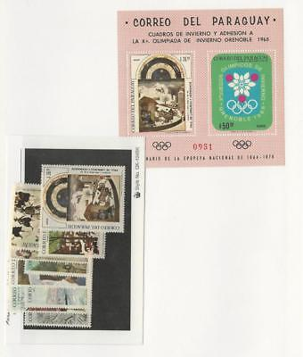 Paraguay, Postage Stamp, #1079-1088 Mint NH Sheet & Set, 1968 Olympics