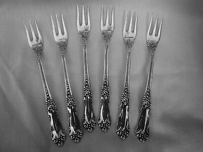6 Antique Reed & Barton La Marquise Sterling Silver Cocktail Forks - Mono