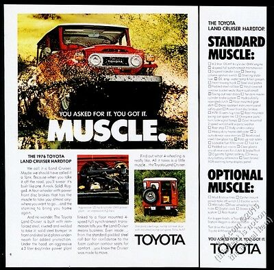 1976 Toyota Land Cruiser red SUV color photo vintage print ad