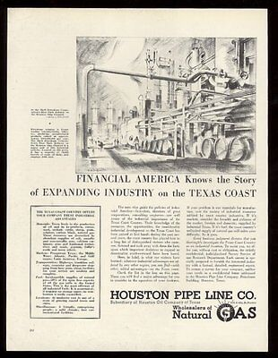 1938 Houston Oil Company natural gas pipe line Shell Deer Park refinery art ad