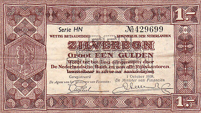 1 Gulden Zilverbon Vf  Banknote From Netherlands 1938!pick-61