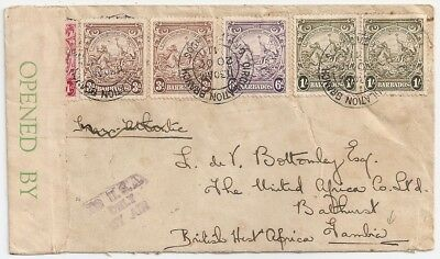 1941 Barbados To Gambia Censored Cover Via Sierra Leone, Great Franking