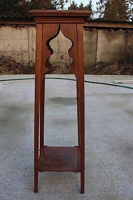 Antique Oak Pedestal Display Table Plant Church Stand With Side Display