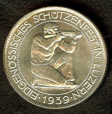 Switzerland 1939 Silver 5 Francs Km#s20  Exceptional Uncircukated