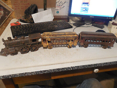 Old Cast Iron Train Set Engine Cars Pennsylvania Normadie Rr Vintage Antique