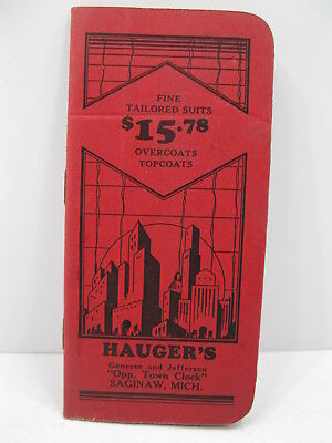 1939 Hauger Clothes Saginaw Michigan Notebook Advertisement Pamphlet
