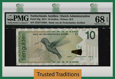 TT PK 28g 2014 NETHERLANDS ANTILLES / DUTCH ADMIN. 10 GULDEN PMG 68 EPQ 2 OF 2!