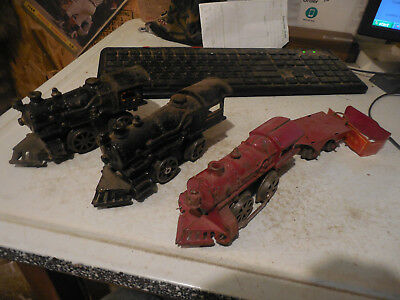 3 Cast Iron Train Engine Lot American Flyer 10 13 Antique Old Vintage Toy Rr Usa