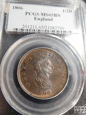 S106 Great Britain England 1806 1/2 Penny PCGS MS-65 Brown