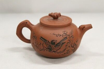 Chinese Yixing Carved Lovebirds Branches Calligraphy Symbols Pottery Teapot Sign