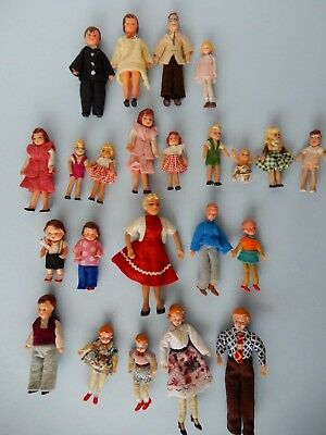 23 Rare Vintage Rubber Posable  Dollhouse Dolls By Concord 1950's Flagg 1940's