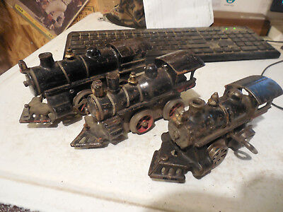 3 Antique Cast Iron Wind Up Train Engines Old Vintage Toy German Parts Or Repair