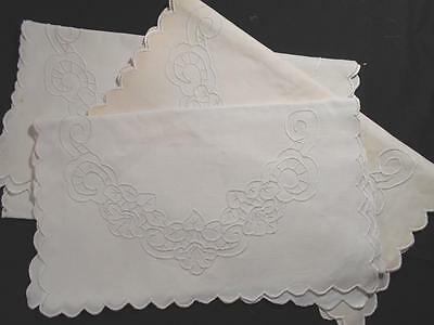 3 Vintage White Linen Table Runners,dresser Scarves W/white Work Embroidery