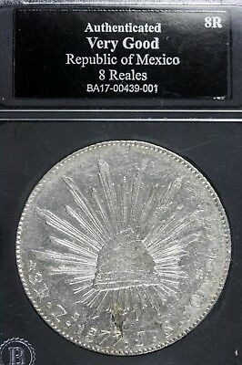 1877 - Authenticated VG Republic Of Mexico 8Reales!!!  #B11185