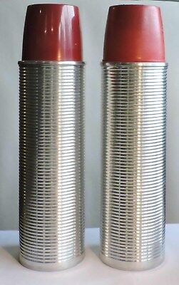 CORKS!  RIBBED 1940's 1950'S METAL LARGE ALUMINUM THERMOS FLASK PAIR  & CUPS