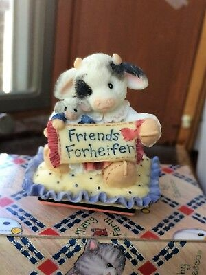 "Mary Mary Had A  Farm ""Friends Forheifer"" Cow with Sign Stamper by Enesco N/B"